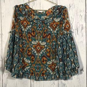 Tory Burch Multicolor LongSleeve Batik Boho Top 14
